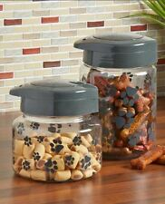 Paw Print Premium Pet Treat Jars Dog Animal Food Chews Storage Organize Display