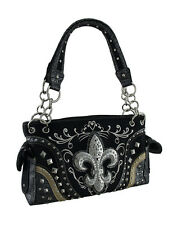 Rhinestone Fleur De Lis Embroidered Trim Studded Concealed Carry Purse