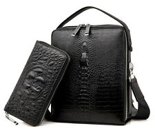 Alligator Men Business Leather Briefcase Shoulder Bag Laptop Messenger Bag Purse