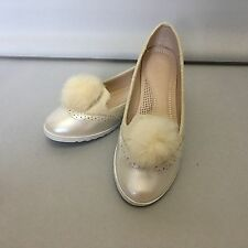 NEW BEIGE FLAT POM POM TRIM CASUAL SHOES - SOFT WHITE RUBBER SOLE - ALL SIZES