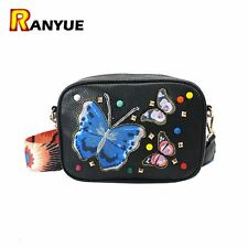 2017 Rivet Embroidered Butterfly Bag Women Leather Handbags Purses Famous Brand