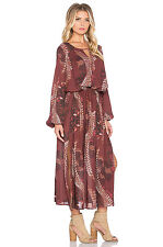 NWT $218 Free People Out of the Woods Maxi Dress Scarlet Combo/ Burgundy Sz XS M