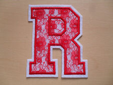 Large White Felt & Red Lace Letter - Height 13cm - Iron On Or Sew On - Free P&P