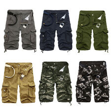 2017 Mens Casual Slim Fit Cotton Cargo Army Short Pants Work Relaxed Summer