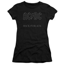 ACDC AC-DC Rock Band BACK IN BLACK Album Cover Juniors Cap Sleeve T-Shirt
