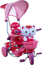 THREE WHEEL BIKE TRICYCLE SCOOTER BABY CHILD CAT HELLO KITTY TRIKE PARENT HANDLE