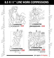 "LINE WORK COMMISSION 8.5x11"" Original customized pinup art drawing Illustration"