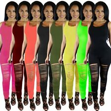 2016  Jumpsuit   Sexy Summer  Overalls Sleeveless Hole Solid Rompers Womens