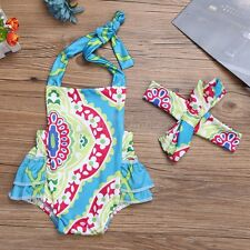 2PCS Newborn Infant Baby Girls Clothes Floral Ruffled Romper Bodysuit Outfit Set
