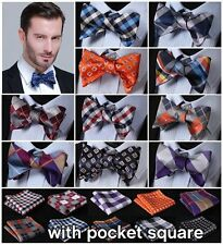 Check 100%Silk Jacquard Woven Men Butterfly Self Bow Tie BowTie Pocket Square