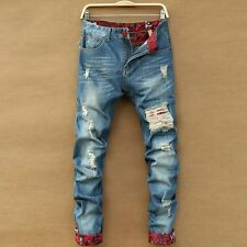 Jeans Destroyed Men 2016 New Fashion Retro Ripped Jeans Slim Hole Straight Denim