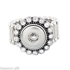 Wholesale Adjustable Ring Fit Mini Snap Buttons size 7.5 White Rhinestone 17.7mm