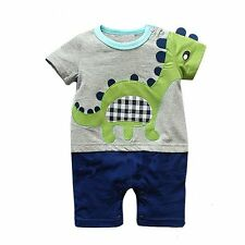 Baby Girls Boys Clothes 2017 Summer Cartoon Embroidery Dinosaur Baby Rompers