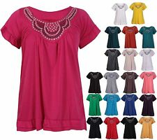 Womens Short Sleeve Ladies Stretch Gathered Stud Bead Vest Top T-Shirt Plus Size