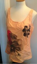 NWT $39 New York & Company Coral  Floral 100% Silk Career Tank Top S Small