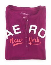 AEROPOSTALE WOMENS LONG SLEEVE HENLEY T-SHIRT BUTTONS APPLIQUE EMBROIDERED LOGO