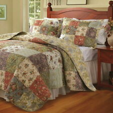 Quilt Set 100 Cotton Patchwork Floral Vintage Antique 3 Piece Reversible Bedding