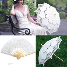 Handmade Battenburg Lace Parasol Fan Bridal Braidsmaid Sun Umbrella Wedding Deco