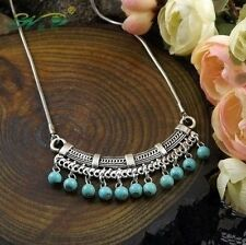 Fashion Classic Bohemia Style Tibetan Silver Necklace Turquoise Sweater Chain of