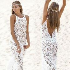 Women Maxi Dress Backless Bohemian Hippie Long White Beach Dress hollow out Lace