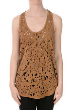 ROBERTO CAVALLI New Woman Brown Pierced Top in Leather Made in Italy NWT