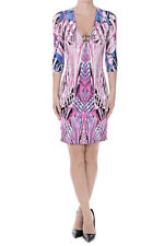 ROBERTO CAVALLI NEW WOMAN Multicolor Printed 3/4 sleeve Dress Made in Italy