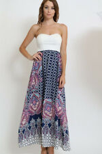 Strapless Printed Maxi Dress Navy