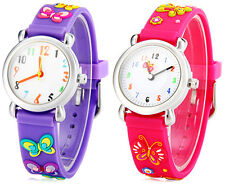 Gift Children Watch Butterfly Pattern Round Dial Rubber Watch Band