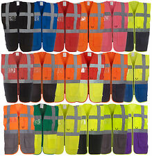 Yoko Hi-Vis Executive Waistcoat Safety Vest with Pockets & Zipper NEW