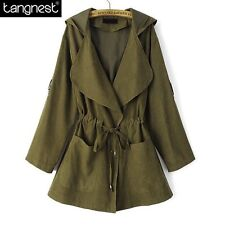 TANGNEST Casual Solid Hooded Belt Coats 2016 Autumn Fashion Woman Warm Long