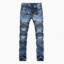 2016 New Men's Ripped Slim Denim Straight Biker Jeans Men Washed  Hole Skinny