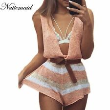 2016 Spring Summer knitted jumpsuits women rompers Drop v neck loose short
