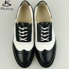 Genuine leather flat shoes women US size 11 handmade Black blue white 2017 sping