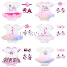 3Pcs Baby Girl 1st Birthday Romper Tutu Dress Shoes Outfit Set Bodysuit Heabdand