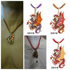 USA - Dragon Necklace Pendant Jewelry Antique Retro Fire Sweater Chain Crystal