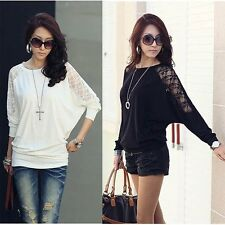 Women Ladies Loose Batwing Dolman Lace Long Sleeve Casual Top T Shirt M XXL -