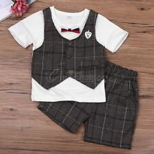 2pcs baby todder kids boy summer Clothes shirt+short pants outfits gentleman set