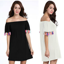 Fashion Ladies Women Casual Off Shoulder Mini A Line Beach Party Tassel Dresses