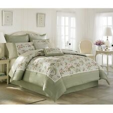 Laura Ashley Avery Traditional Cotton 4 Piece Comforter Set Soft Green Floral