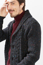 "NEW Esprit Mens """"Chunky-knit shawl collar jacket, wool blend"""" ANTHRACITE"