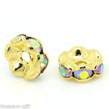 Wholesale Lots Spacer Beads Rondelles AB Color Rhinestone Gold Plated 8mm