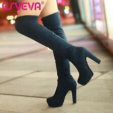 ESVEVA New Hot Pumps Fashion Winter High Heels Big Size Boots for Over The Knee
