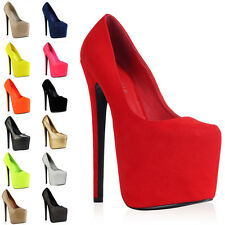 97B WOMENS POINTY TOE LADIES PLATFORM HIGH HEEL STILETTO COURT SHOES SIZE 3-8