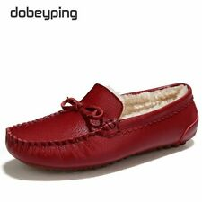 Winter Fur Women Loafers Slip-on Leather Ladies Flats Warm Plush Driving Boat