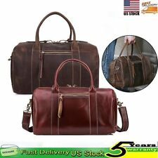 Mens 100% Genuine Leather Travel Business Duffle Sport Gym Handbag Shoulder Bag