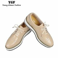 YGF Genuine Leather Flats Platform Shoes Women Classic Brogues Oxford Shoes for