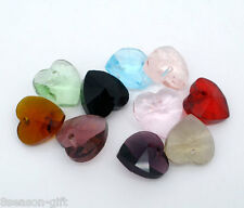 Wholesale Mixed Crystal Glass Quartz Faceted Heart Drop Charm Beads 6202 10x10m