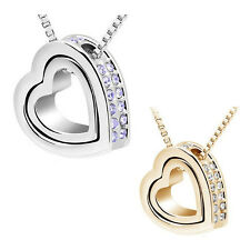 1PC Fashion Women Double Hearts Crystal Rhinestone Necklace HY