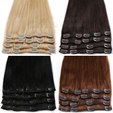 US Promotion 7/8pcs Clip in Remy 100% Real Human Hair Extensions Full Head SK095