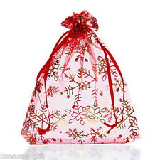 Wholesale Red Snowflake Organza Gift Bags Pouches Wedding/Christmas Gift